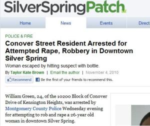 Screenshot of Silver Spring Patch news story