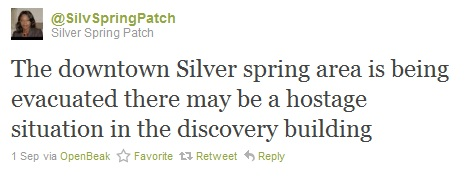 Tweet from Silver Spring Patch