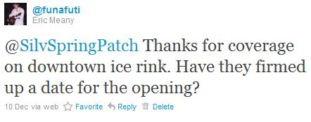 Tweeted question to Silver Spring Patch